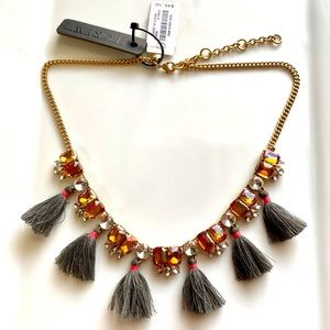 Gray & Orange J. Crew Tassel Statement Necklace